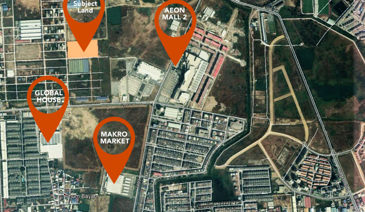 22168 Square Meters Land For Sale In Front Of AEON Mall 2 Map