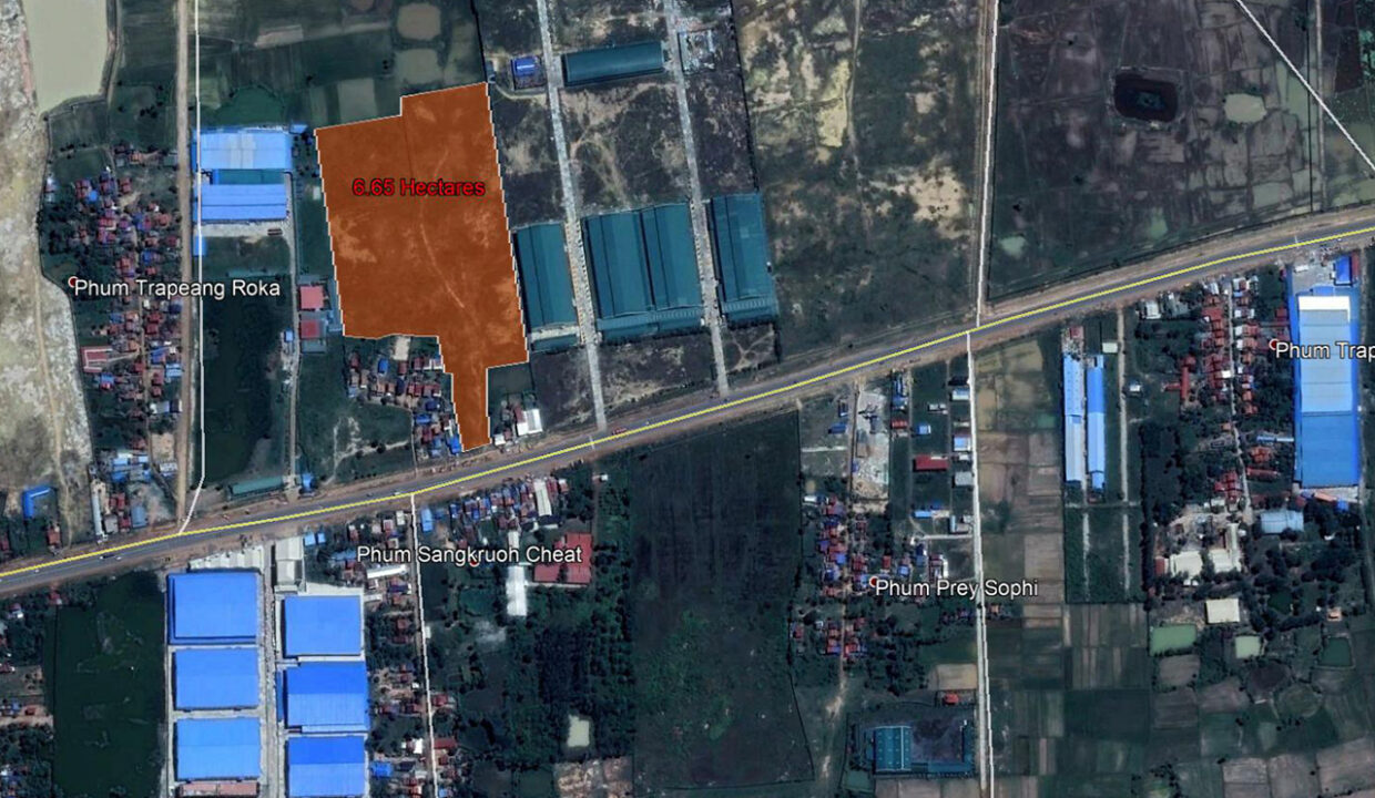 6.65 Land For Sale Along National Road 4, Trapeang Kong Commune Location