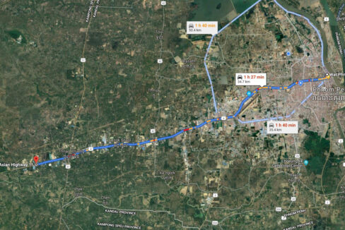 6.65 Land For Sale Along National Road 4, Trapeang Kong Commune Map